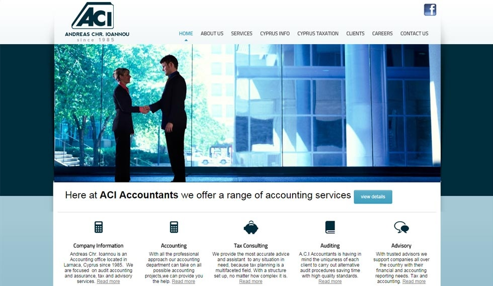 ACI Accountants Website Home Page