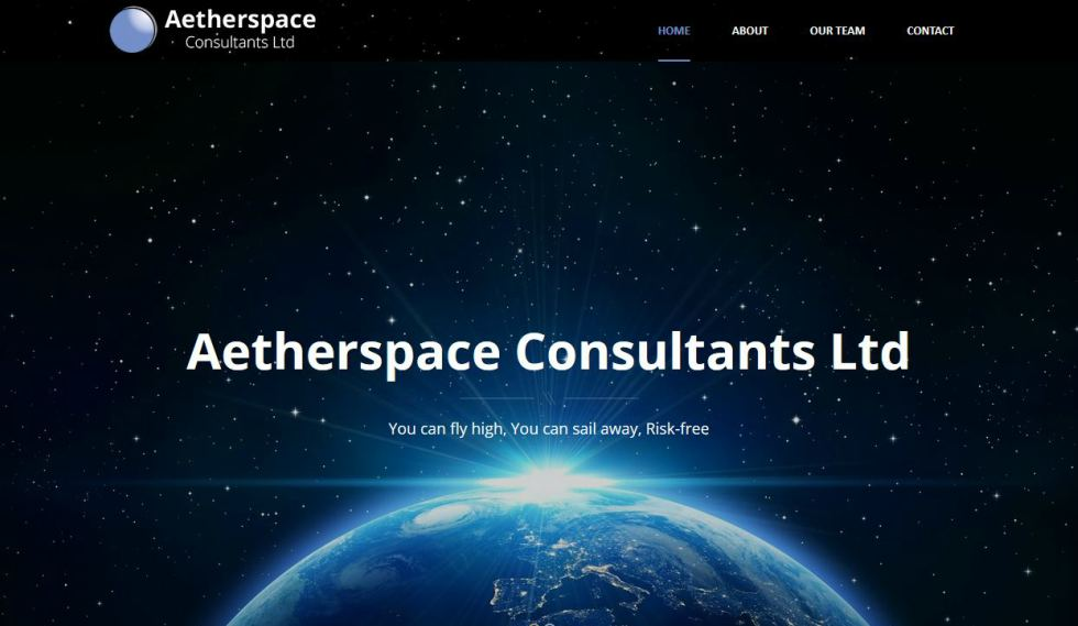 Aetherspace Consultants website Home Page