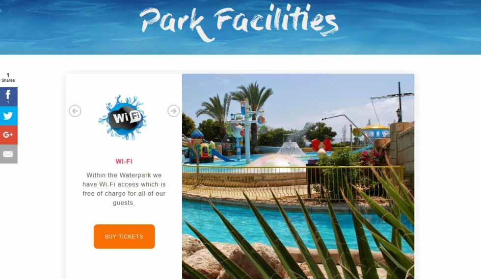 Paphos Aphrodite Water Park website Park Facilities page