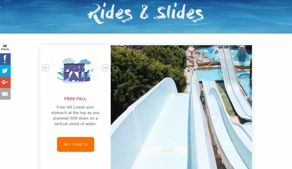 Paphos Aphrodite Water Park free fall ride