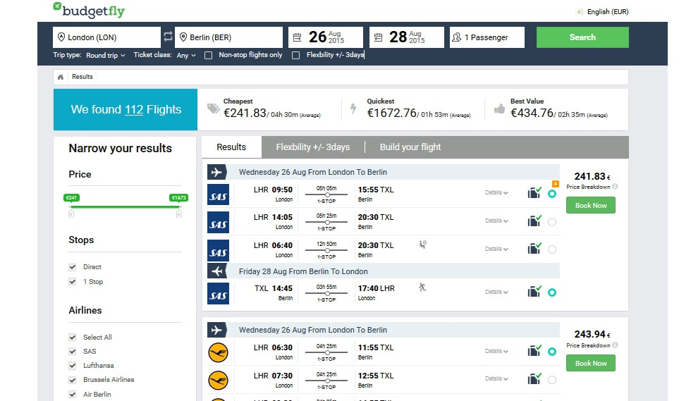 Budgetfly.com Travel Portal Result Flights