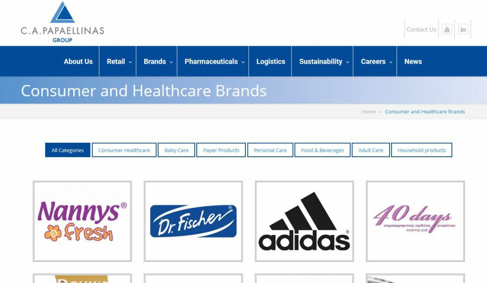C.A. Papaellinas Ltd Consumer and Healthcare Brands Page