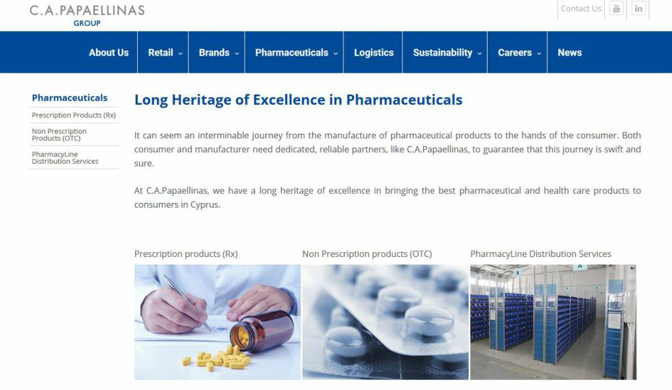 C.A. Papaellinas Ltd Pharmaceuticals Page