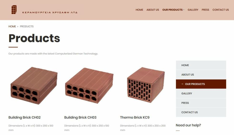 Chrysafis Bricks Products Page