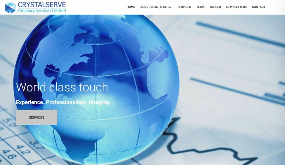 Crystalserve Fiduciary Services website Home Page