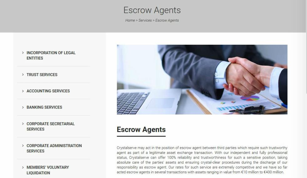 Crystalserve Fiduciary Services Escrow Agents