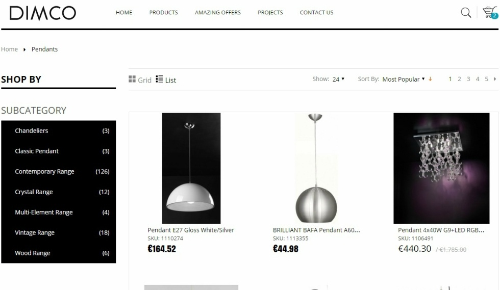 Dimco Home Page Pendants Website