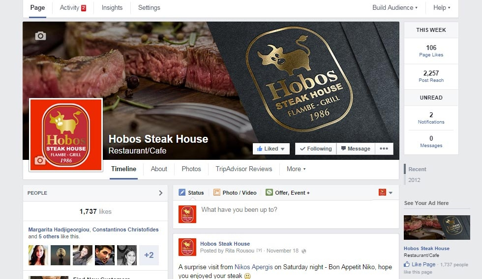 Hobos Steak House Facebook Page Timeline