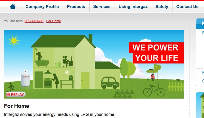 Intergaz Corporate website Home Page