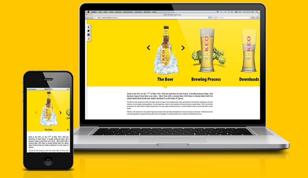 KEO beer microsite Mobile and Pc View