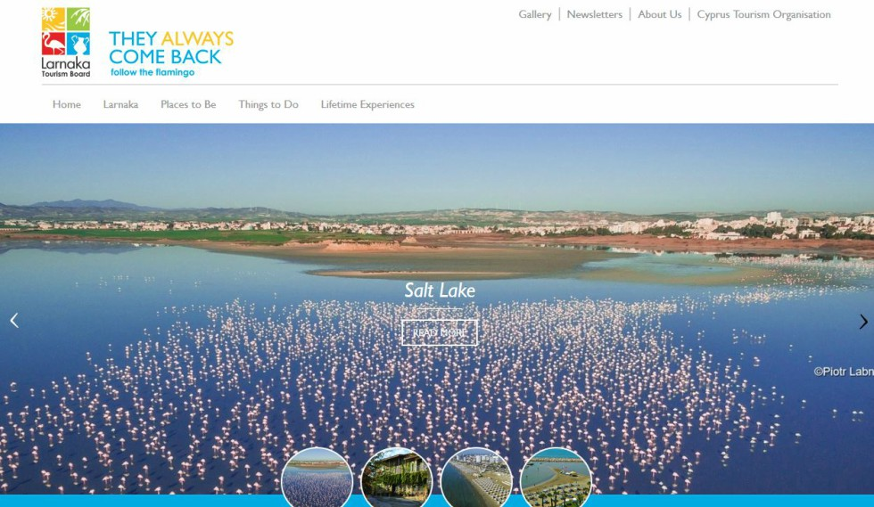 Larnaka Tourism Board website home page