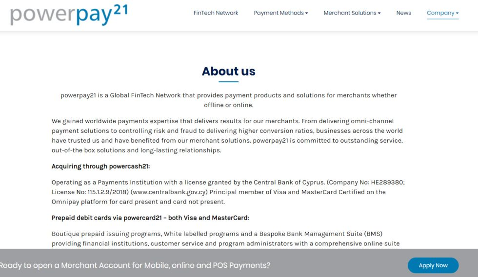 Powerpay21 About us page