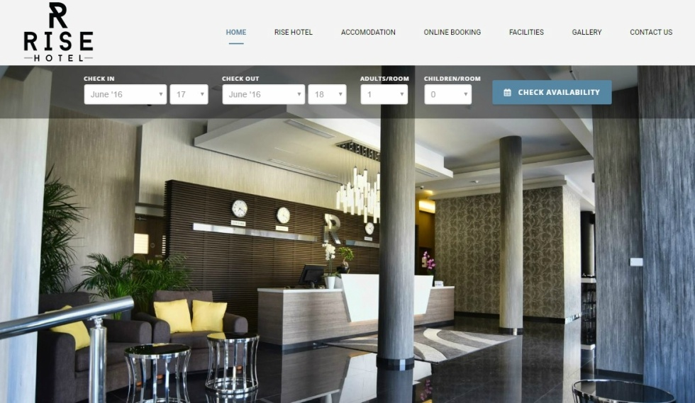 Rise Hotel website Home Page