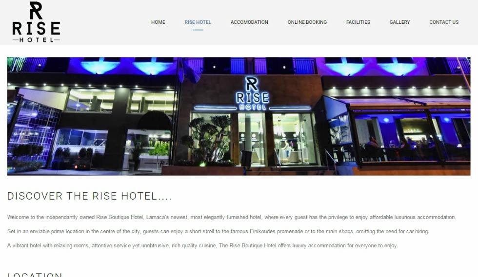 Rise Hotel website About Us Info