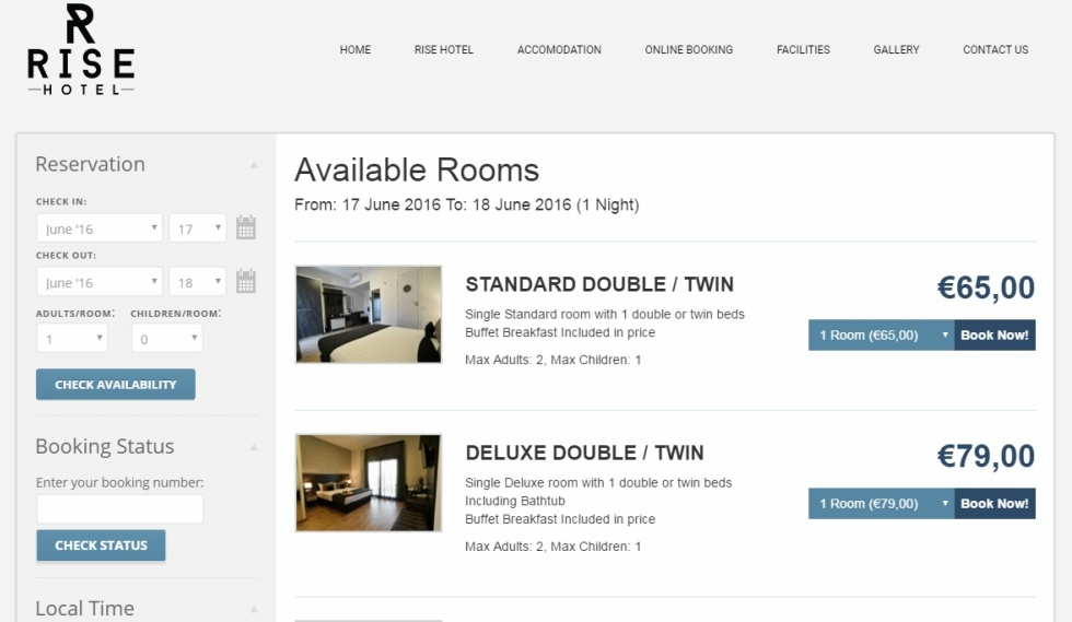 Rise Hotel Website available rooms