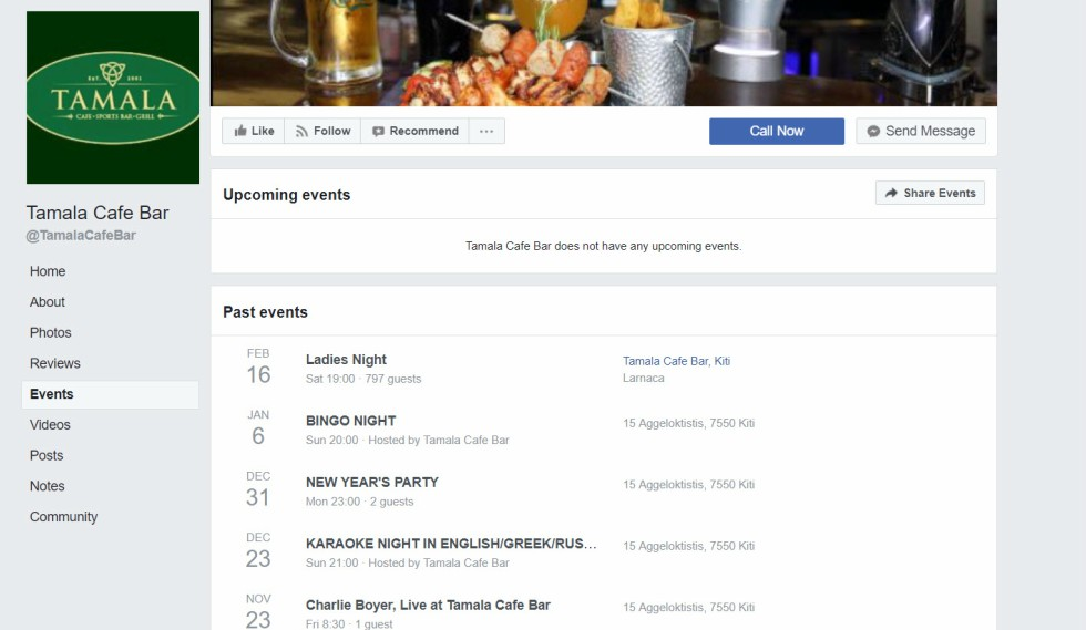 Tamala Cafe Bar Facebook Events Page