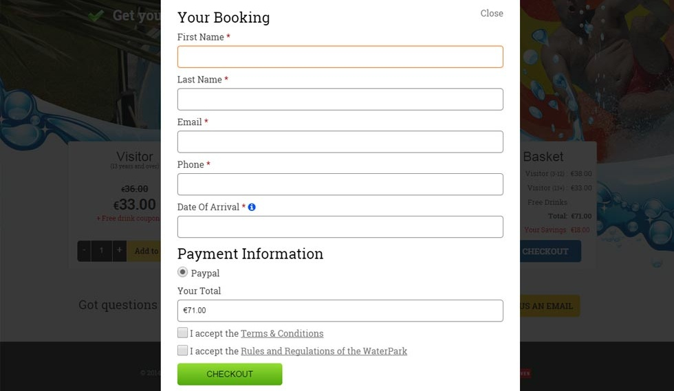 Buy WaterPark Tickets booking info
